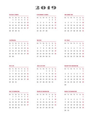 Calendar for 2019 year. Week starts Monday. Vector Illustration