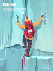 Extreme sports. Climbing the mountain. Ice climbing. Man with climbing gear. Vector illustration