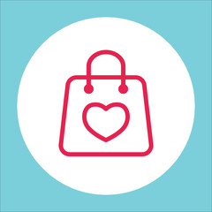 shopping gift bag with heart line icon