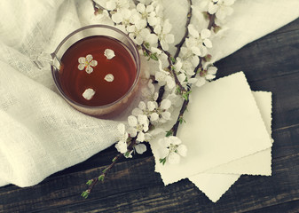 Cup of tea, empty old photo and blossoming apricot branch on a wooden table,  top view