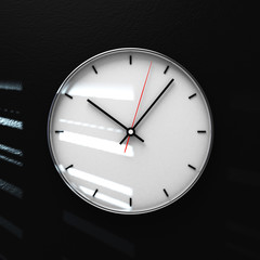 Simple classic black and white round wall clock on black 3d rendering