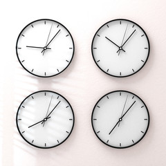 Simple classic white round wall clock on white 3d rendering