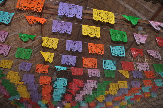 Colorful decorative mexican flags in Cozumel, Mexico