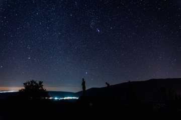 Night landscape with starry sky in El Torno, Jertes Valley, Cace