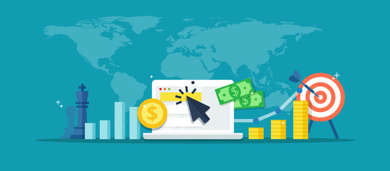 Online advertising campaign - abstract illustration in flat style. Internet marketing vector banner. Concept of strategy, e-commerce, successful result and profit growth.