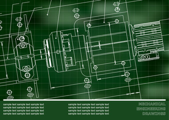 Mechanical engineering drawings on a green background. Vector. Grid. Cover, Background for inscription labels