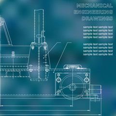 Mechanical engineering drawings on a black background. Vector. For inscriptions. Blue