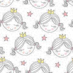 seamless cute princess pattern vector illustration