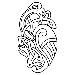 Celtic zoomorphic national figure. Ornament with bird.