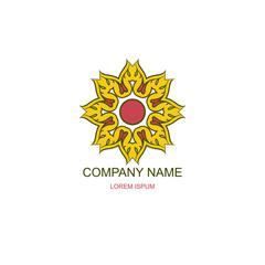 Business logo, emblem. Floral, Oriental logo. Sunny logo. Eco, natural motive. Flower, sunflower