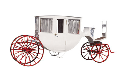 White ancient carriage with red wheels