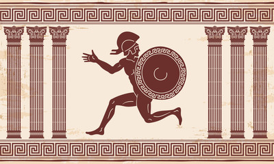 Greek style drawing. Naked running men with shield and helmet and national ornament. Brown drawing with aging effect on a beige background.