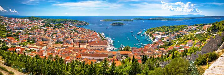 Island of Hvar bay aerial panoramic view