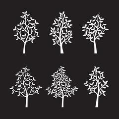 Set black Trees and Leafs. Vector Illustration.