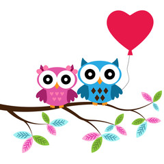 Owl boy and girl on a branch with heart air balloon