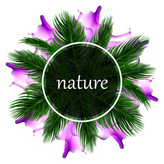 Round banner with palm green leaves and purple abstract blurred background