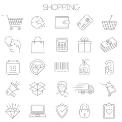 Thin line vector online store sopping icon set.