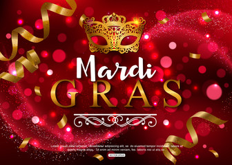 Mardi Gras shiny background with festival mask. Vector illustration.