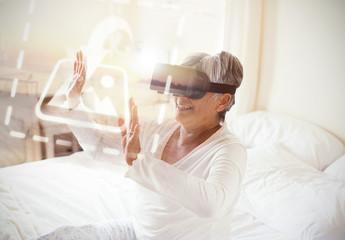 Senior VR User on Bed Mockup 1