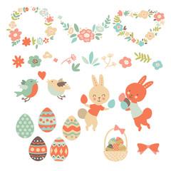 Happy Easter design elements with rabbit, chick, spring flower, egg. Vector illustration.