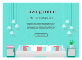 Modern living room interior banner for your web design.