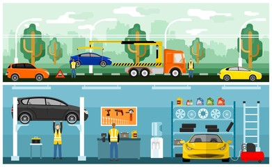 Roadside assistance and car service center. Broken car on a tow truck. Car on lift, tire service, automobile service equipment and tools
