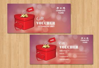 Heart-Shaped Box Gift Voucher Layout