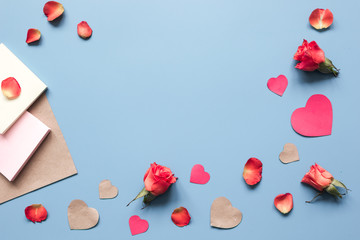 concept of Valentine's Day with heart background mock up