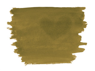 A fragment of a tobacco watercolor background with the dark silhouette of the heart