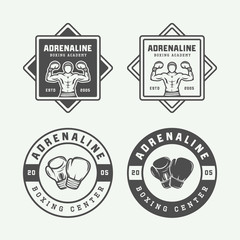 Set of retro boxing and martial arts logo badges and labels