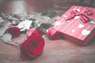 Valentine gift box with rose, vintage filter image