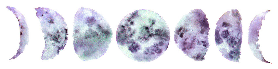 all the phases of the moon, watercolor