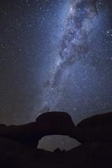 Rock arch under the Milky Way