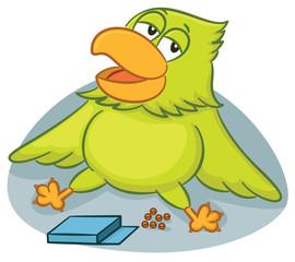Parrot Getting Full from Eating Cartoon Illustration