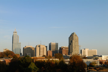 Raliegh North Carolina Downtown Skyline in the Late Afternoon Su