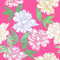 Green Seamless pattern  with peonies . Spring