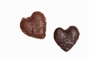 Two heart shaped Chocolates