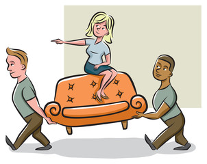 A homeowner/interior decorator points in the direction where the delivery men/movers should put the couch.