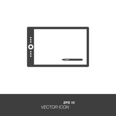 Graphic tablet icon in flat style isolated on white background. Graphic tablet symbol for your design and logo. Vector illustration EPS 10.