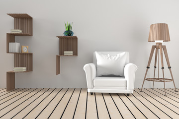 interior white sofa in the modern room design with bookshelf in 3D rendering