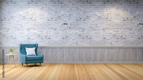 Living Room Background. Modern loft interior  living room wood flooring blue armchair with table on gray
