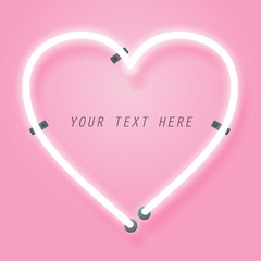 Neon and pink glow effect of love with space for text
