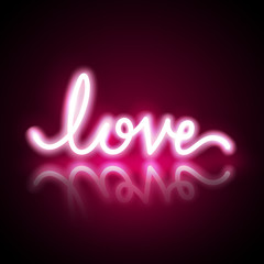 Neon and pink glow effect of love, valentine's day and romance