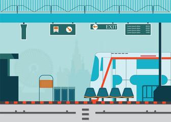 Train station platform of subway or sky train