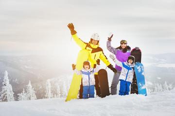 Happy family ski resort concept
