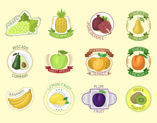 Vector fruits badges.