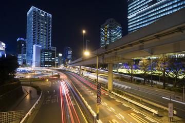 東京 夜景 大都会の幹線道路が交差する 赤坂見附 港区