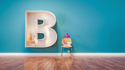 Room for learning The letter B has designed a bookshelf.