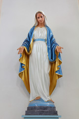 Statues of Holy Women in Roman Catholic Church isolated background