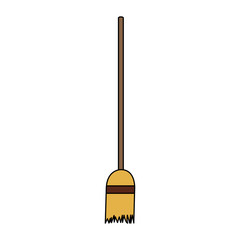 broom icon over white background. colorful desing. vector illustration